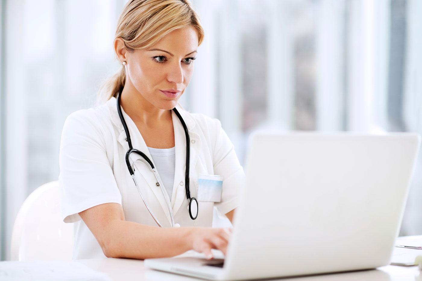 Doctor taking survey